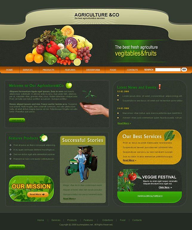 Custom web design templates for agricultural company