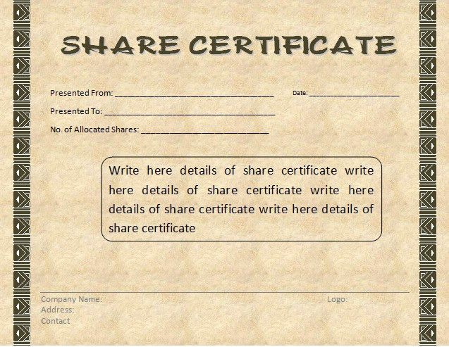 Company Share Certificate Template. corporate stock share ...