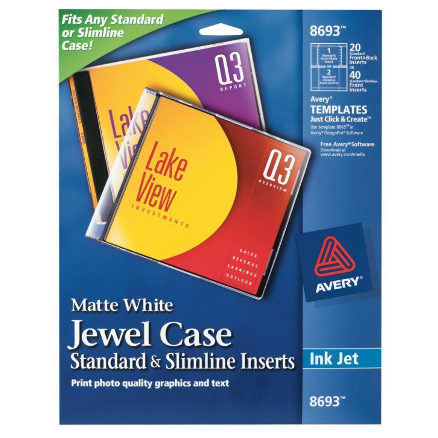Avery Inkjet CDDVD Jewel Case Inserts Pack Of 20 by Office Depot ...
