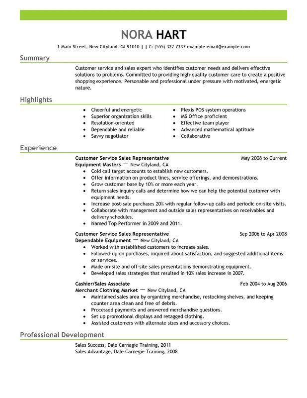 customer service representative resume sales - Writing Resume ...