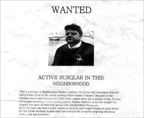Actor Robbie Coltrane pictured on 'wanted' poster in place of ...