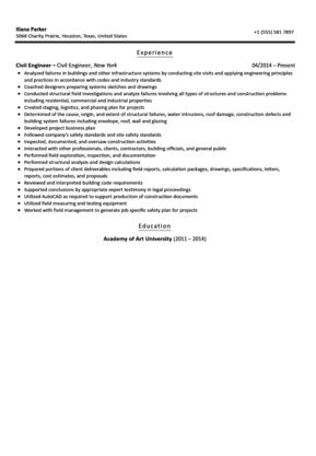 Civil Engineer Resume Sample | Velvet Jobs