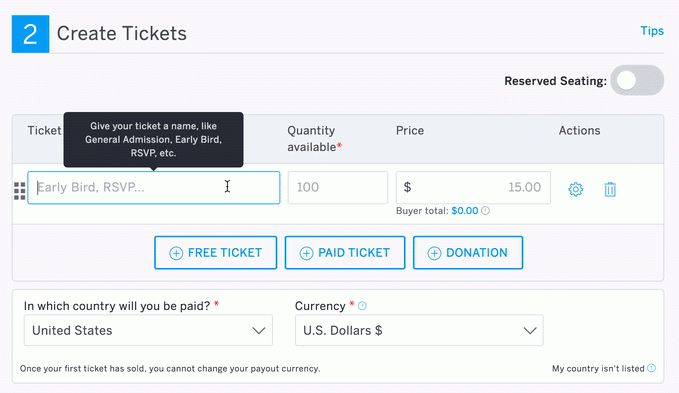 How to create and edit ticket types | Eventbrite Help Center