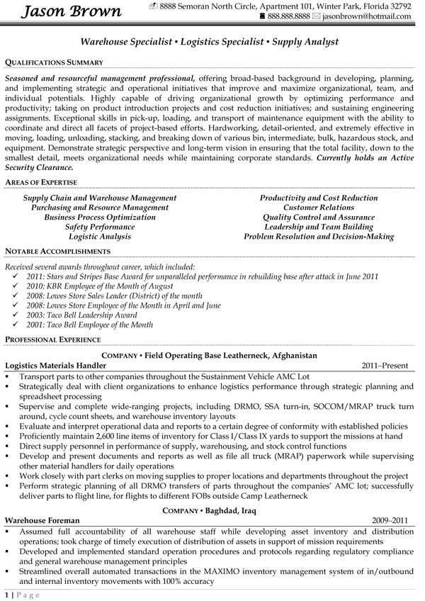 Warehouse Specialist 2 Objective For Worker Sample Resume ...