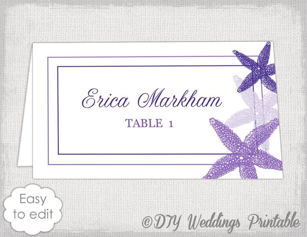 Beach Place card template Purple Starfish