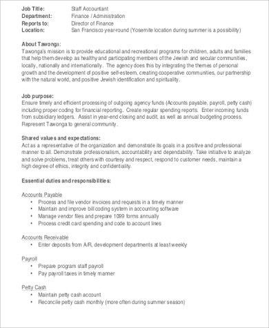 Payroll Accountant Job Description Sample - 6+ Examples in Word, PDF