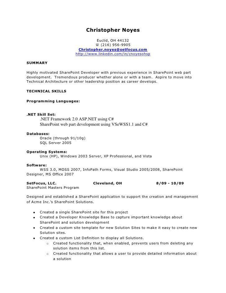Sharepoint Designer Resume - Contegri.com