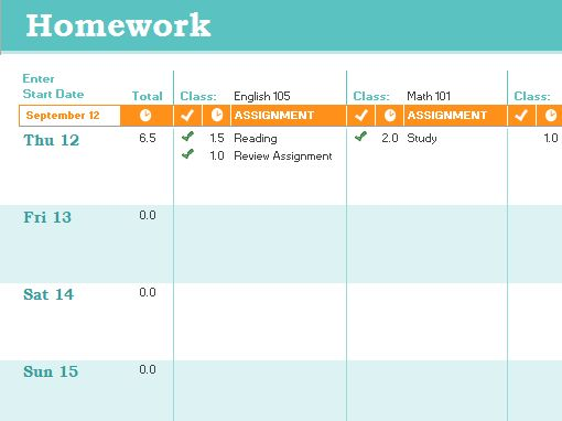 Homework schedule - Office Templates