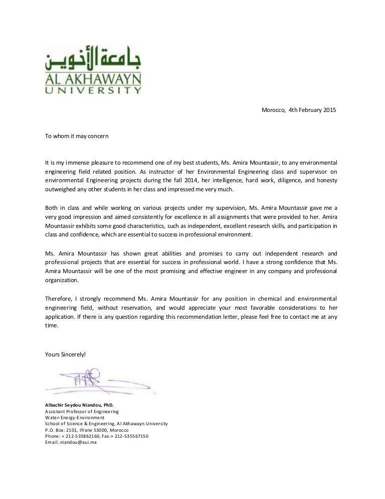 Recommendation Letter- Al Akhawayn University