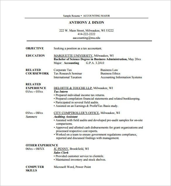 Internship Resume Template – 11+ Free Word, Excel, PDF , PSD ...
