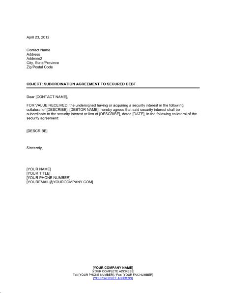 debt agreement letter