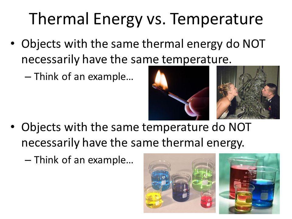 Thermal Energy. Thermal Energy vs. Temperature TEMPERATURE ...