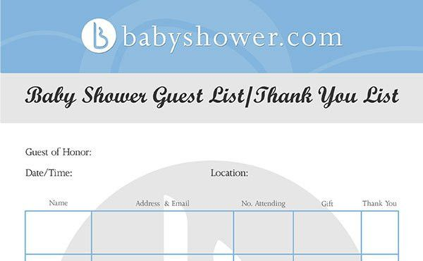 Downloadable Baby Shower Guest and Thank You List - babyshower.com