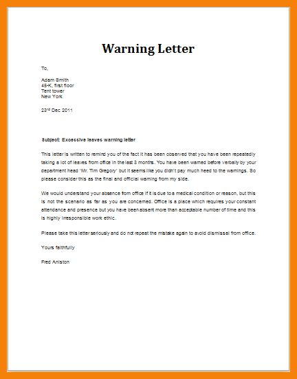 6+ warning letter to employee template | hr cover letter