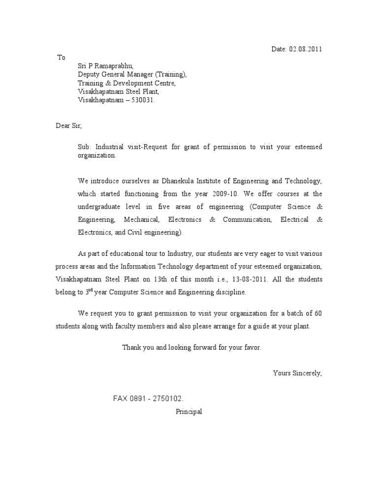 Industry Visit Request Letter