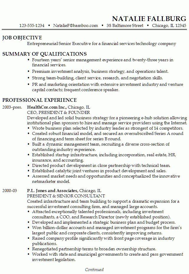 Resume: Executive, Financial Technology - Susan Ireland Resumes