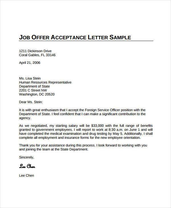 Offer Acceptance Letters. Job Offer Acceptance Letter For Word ...