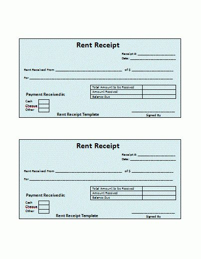 4+ free rent receipt | Printable Receipt