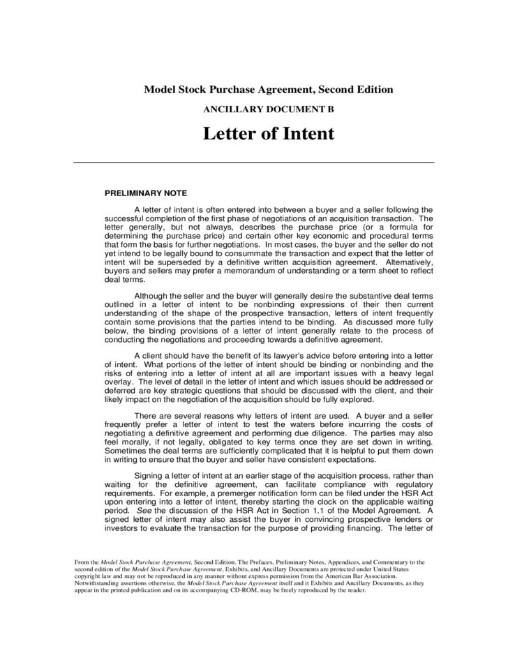 Letter of Intent Free Download