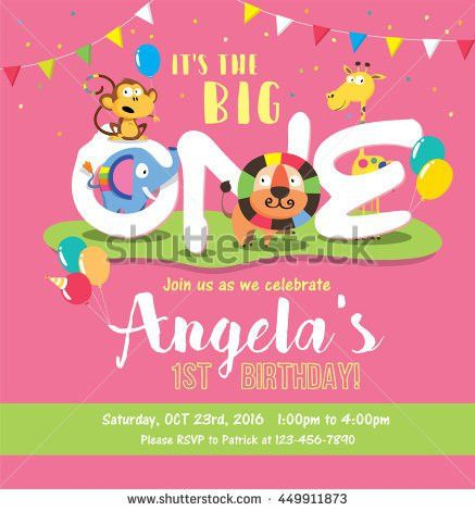 1st Birthday Party Invitation Card Stock Vector 201449834 ...