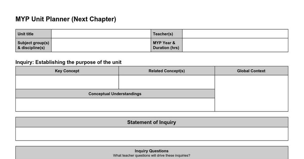 MYP Next Chapter Unit Planner Template - Google Docs