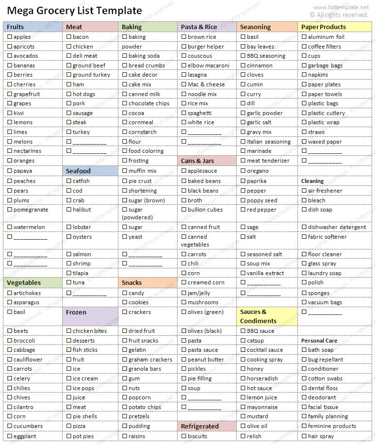 Mega Grocery Shopping List (Word) - List Templates