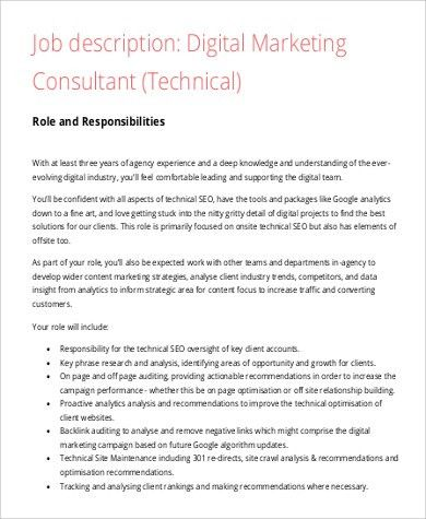 Digital Marketing Job Description Sample - 9+ Examples in Word, PDF
