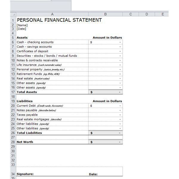 Sample Personal Financial Statement Form. Financial Statement ...