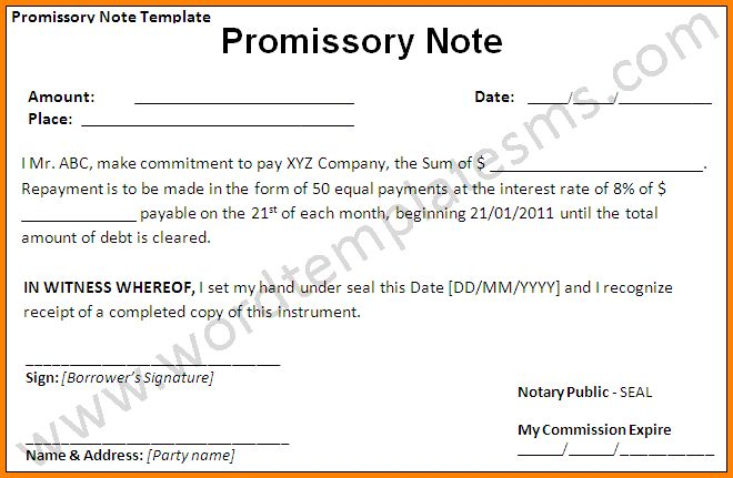 7+ free promissory note template word | memo templates