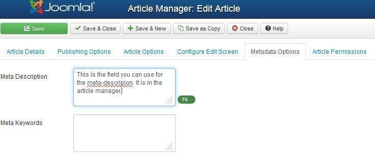 Joomla SEO | Metadescription: great for improving CTR
