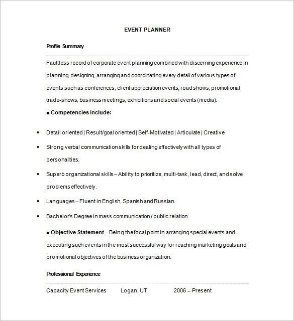 Event Coordinator Resume Sample | Enwurf.csat.co