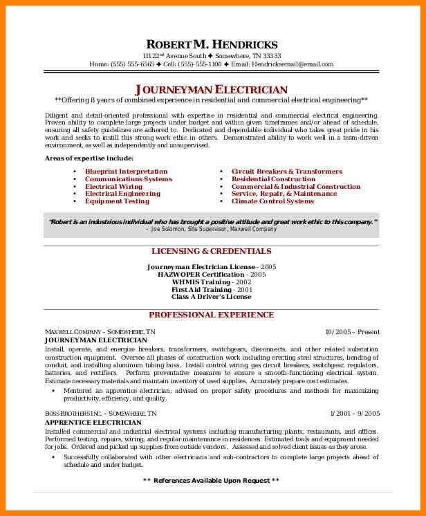 Resume Of Industrial Electrician. journeyman electrician resume ...