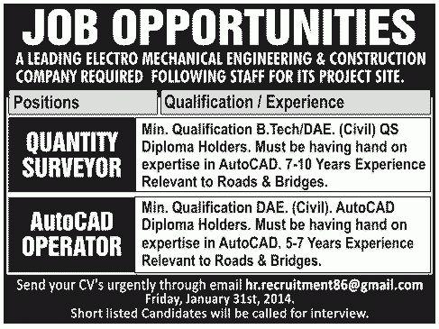 Quantity Surveyor Job, Electro Mechanical Engineering ...