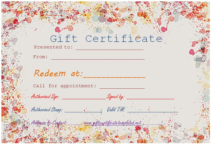 Paint splashes gift certificate template