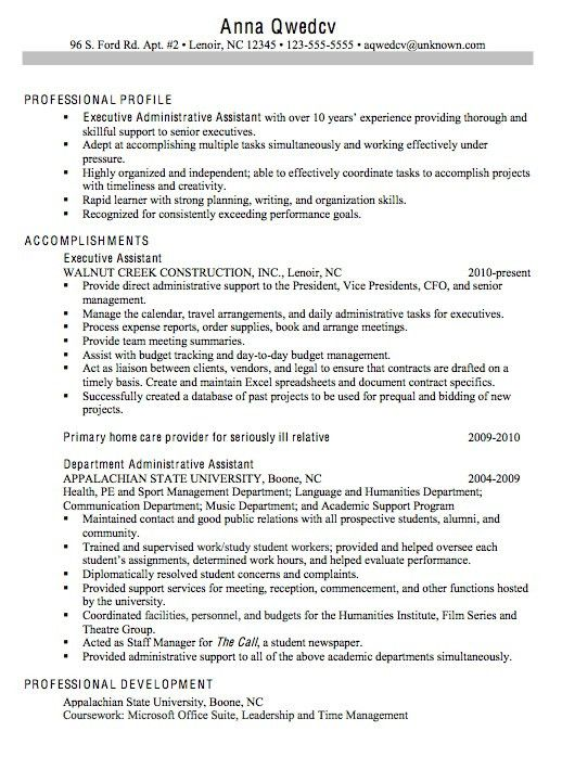 resume for administrative assistant position