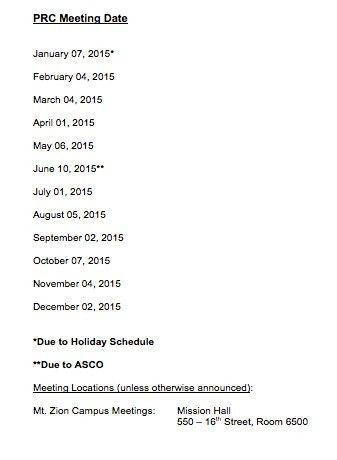 PRC Meeting Schedule 2015 | UCSF Helen Diller Family Comprehensive ...