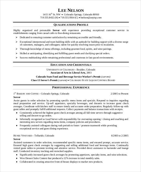 resume for food service worker food service waitress waiter