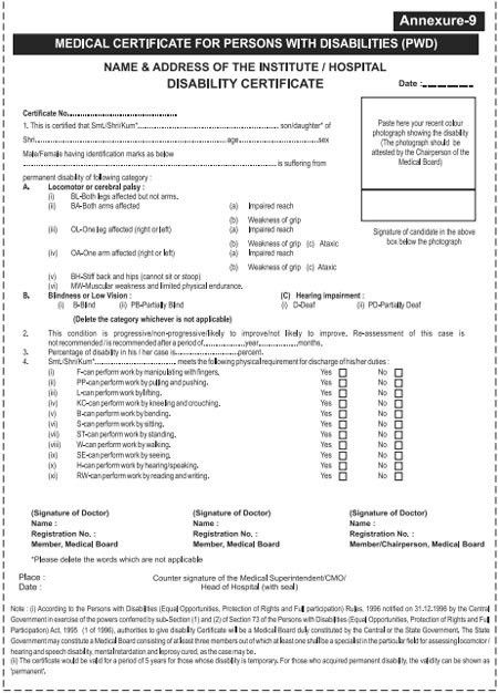RRB : Download Forms - Medical Certificate for Persons with ...