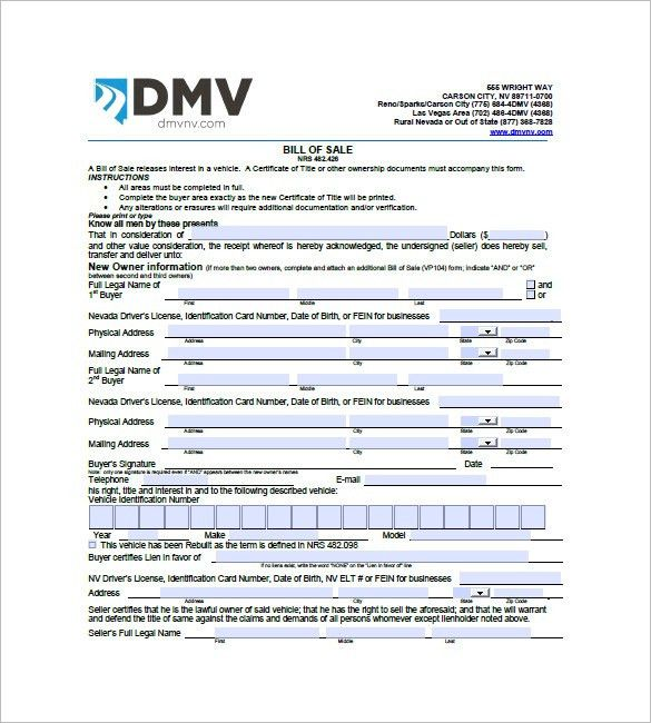 Car Bill of Sale – 10+ Free Sample, Example, Format Download ...