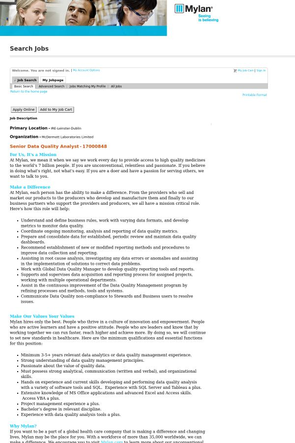 Senior Data Quality Analyst job at Mylan in Dublin, Ireland ...