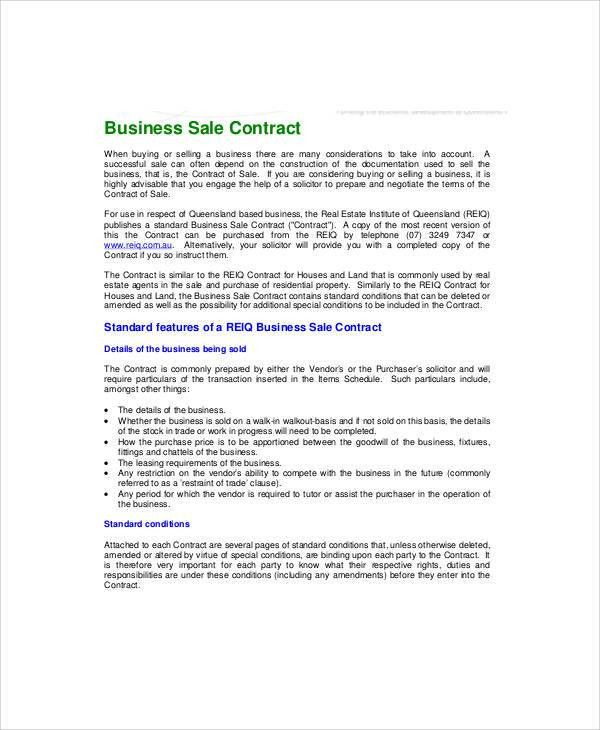 Sample Business Sale Contract - 6+ Examples in Word, PDF