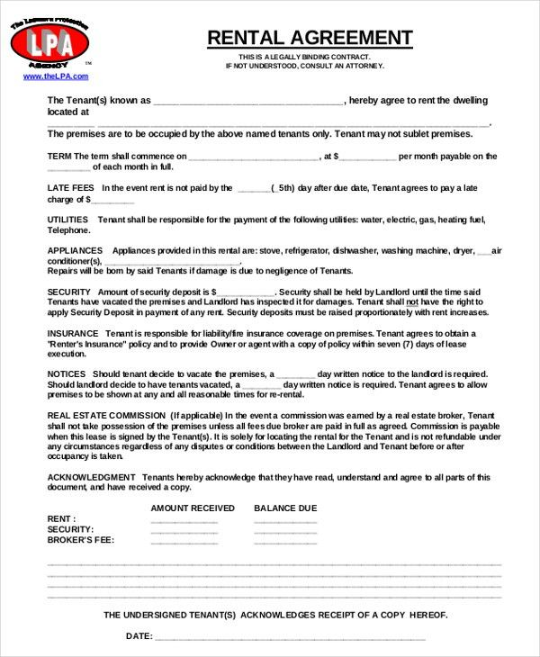 11+ Free Rental Agreement Templates – Free Sample, Example Format ...