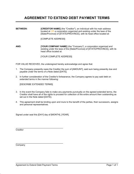 Agreement to Extend Debt Payment Terms - Template & Sample Form ...