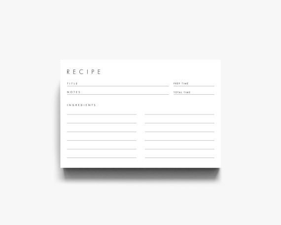 Recipe Cards 4x6 3x5 Recipe Cards Recipe Card 3x5 Editable