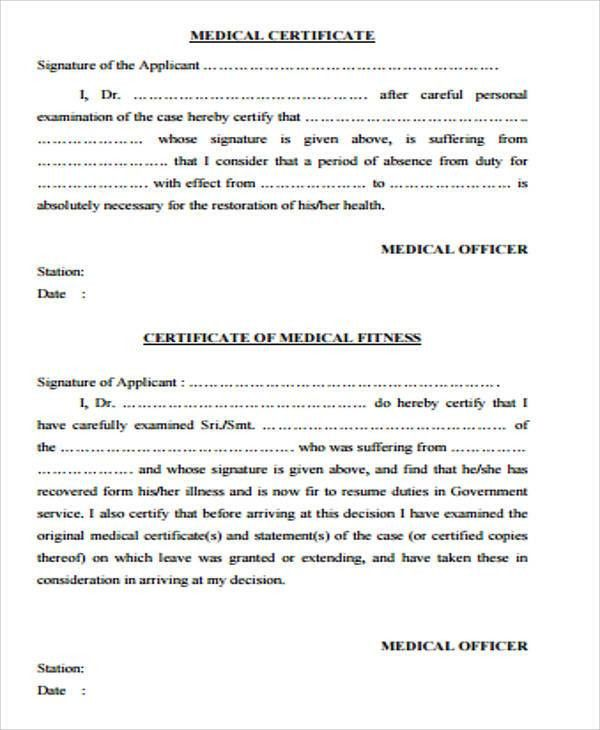 Sample Medical Certificate Form - 7+ Examples in Word, PDF