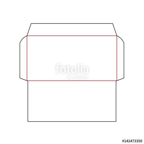 The envelope DL size die cut template. Stamp. Vector black ...