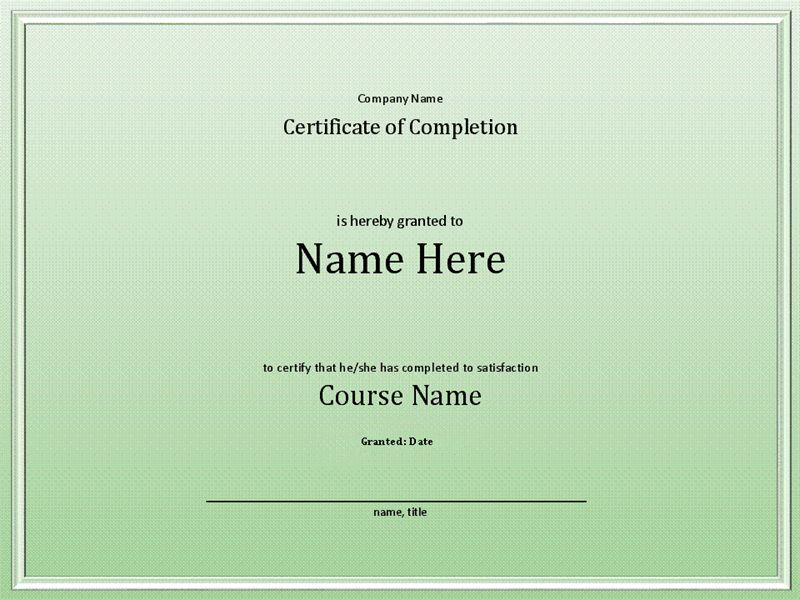 Course completion certificate - Office Templates