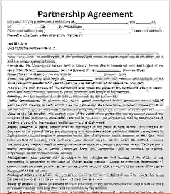 5 business partnership agreement templateReport Template Document ...