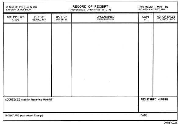 Figure 4-3.—Example of a Record of Receipt, OPNAV Form 5511/10