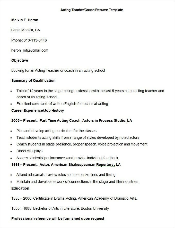 Good Teacher Resume Examples. Sample Acting Teacher Coach Resume ...